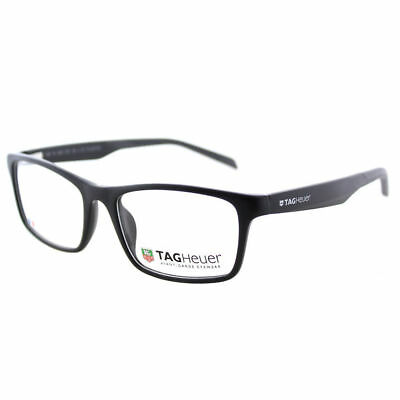 TAG Heuer B-Urban TH0555 007 Black with Dark Grey Rectangle Eyeglasses 57-18-145