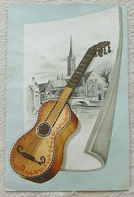 Vintage Antique Victorian Trade Card Woolson Spice Co Lion Coffee guitar