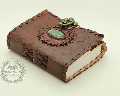 Green Stone Handmade Leather Journal Wicca Book Of Shadows Diary Spell Keeper
