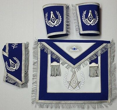Masonic Master Mason Set Blue with Silver Embroidery & Fringe Apron,Collar