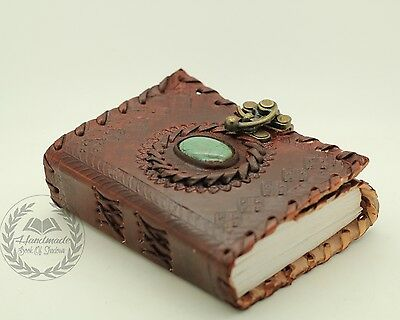 Green Stone God's Eye Book Of Shadows Bound Leather Journal Handmade Paper Diary