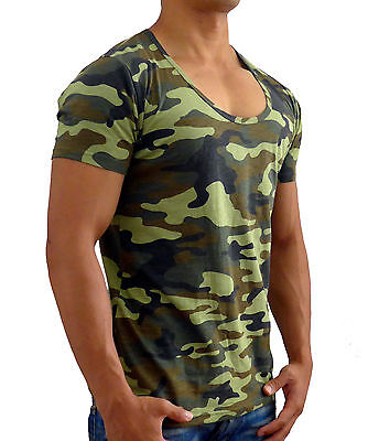 New Mens Plain Camo Deep Scoop Neck T Shirt Slim Fit Casual Muscle Gym Military