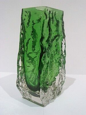 "Whitefriars  Coffin Vase ""Meadow Green"" Pat no 9686"