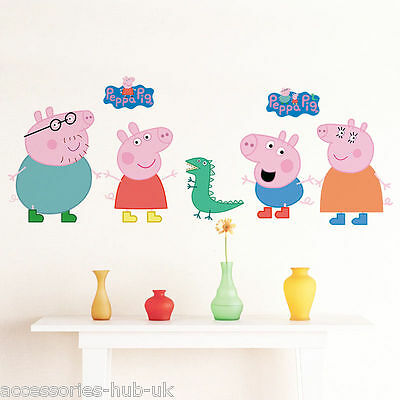 Pepa Pig Scene Vinyl Wall Sticker Decal Boys Girls Bedroom (UK SELLER FREE P&P)