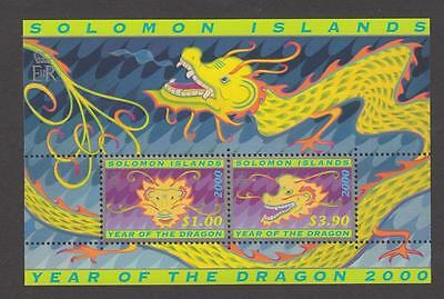 2000 Solomon Islands Stamps - Year of the Dragon Minisheet - MNH