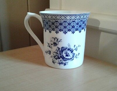 Queens Fine Bone China Out Of The Blue Blue and White Tea or Coffee Mug Unused