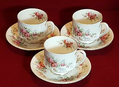 Beautiful Cups and Saucers x 3 by Royal Standard. Rambling Rose Design.