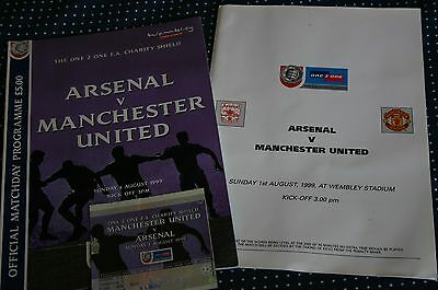 Arsenal v Man Utd 1999 Charity Shield Programme + Ticket Stub + Menu