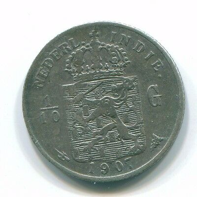 1907 Netherlands East Indies 1/10 Gulden Silver Colonial Coin Nl13229#3
