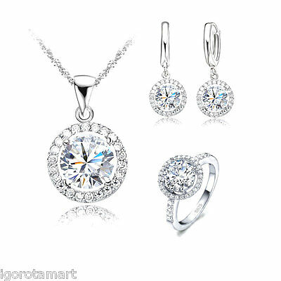 Iced Out Bling Party Ring Necklace Stud Earring Jewelry Set Sterling Silver