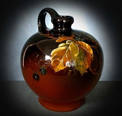 Lovely Early Weller Pottery Hand Decorated Louwelsa Flask