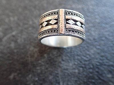 Ladies Hand Crafted 925 Solid Sterling Silver Ring Size 8