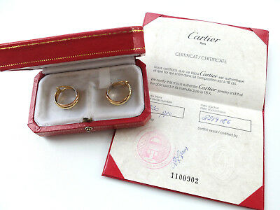 1 Paar Ohrclips orig. CARTIER Trinity gefertigt in 750 Gold + Box