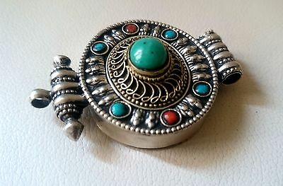 Vintage red coral & turquoise pendant trinket box handmade silver talisman