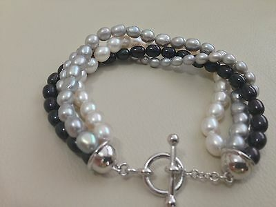 Honora Sterling Silver Freshwater Cultured Pearl Toggle Bracelet