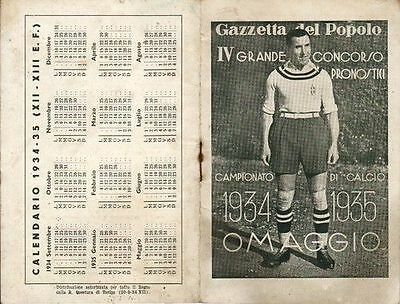 Calendarietto Campionato Di Calcio 1934/35