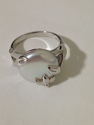 Honora Cultured Pearl 14.0mm Coin Vine Design Sterling Ring