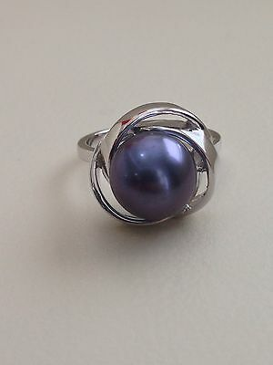 Honora 10-11mm Button Pearl Ring Sterling Silver