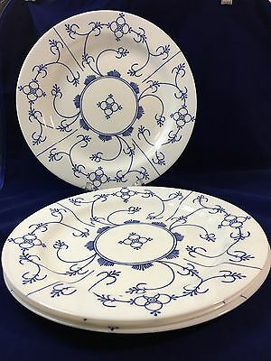 Set of 4 Arcopal Dinner Plates Blue Scroll Pattern Opaque Glass Made in France