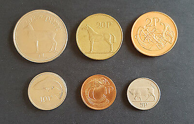 Set Of 6 old Irish Coins minted in 1995  1p 2p 5p 10p 20p 1 Punt