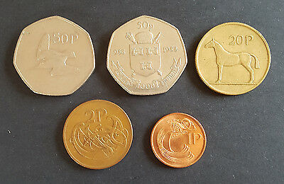 Set Of 5 old Irish Coins minted in 1988  1p 2p 20p 50p 50p Millennium