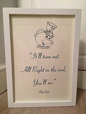 Beauty & the Beast Disney Mrs Potts Quote Black White Print Art Framed Gift A4