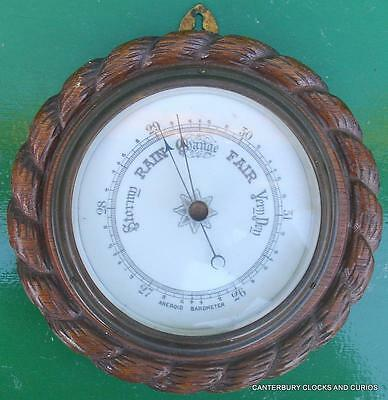 Art-Deco Hand Carved Oak Twisted Barley Aneroid Barometer