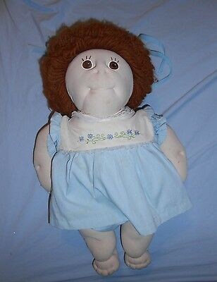 Stuffed Doll, brown eyes, yarn hair, belly button, 18 inches, old fashioned