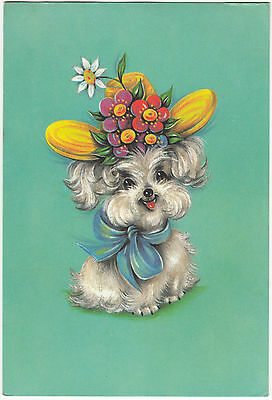 Vintage Happy Birthday Greeting Card ~ 1970's Cute Poodle Puppy Dog