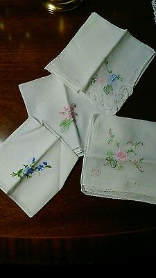 Set of four vintage embroidered ladies handkerchiefs
