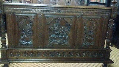Victorian Carved Oak Double Bed