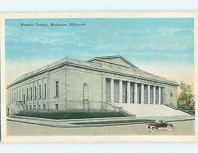 Unused W-Border MASONIC TEMPLE SCENE Muskogee Oklahoma OK L4914
