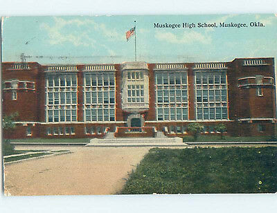 Damaged Divided-Back HIGH SCHOOL Muskogee Oklahoma OK k0548
