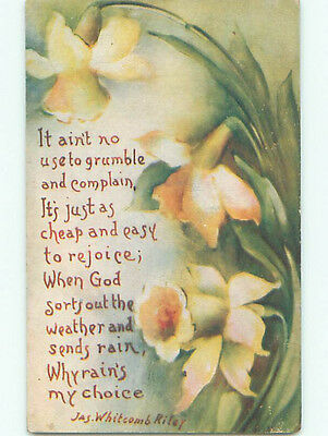 Pre-Linen WHITCOMB RILEY QUOTE WITH DAFFODIL FLOWERS k4475
