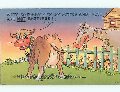 Unused Linen comic COW SAYS THOSE ARE NOT BAGPIPES k3303