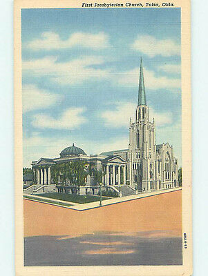 Unused Linen CHURCH SCENE Tulsa Oklahoma OK L4433-12