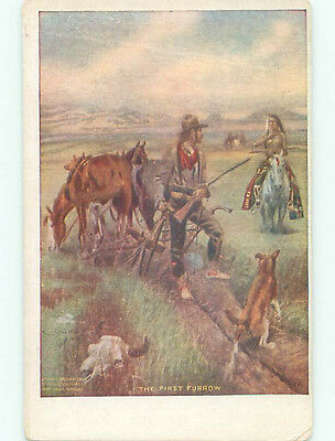 Pre-Linen signed WESTERN COWBOY WITH GUN SEES NATIVE INDIAN APPROACH k6615