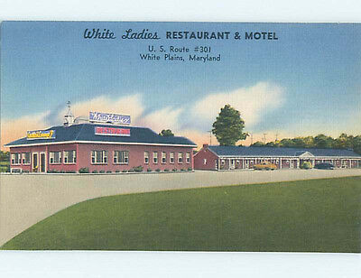 Unused Linen WHITE LADIES MOTEL AND RESTAURANT White Plains Maryland MD M6085