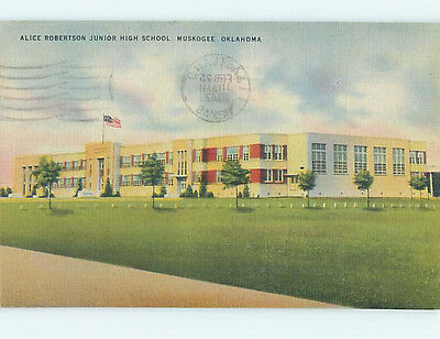 Damaged Linen HIGH SCHOOL Muskogee Oklahoma OK k0327