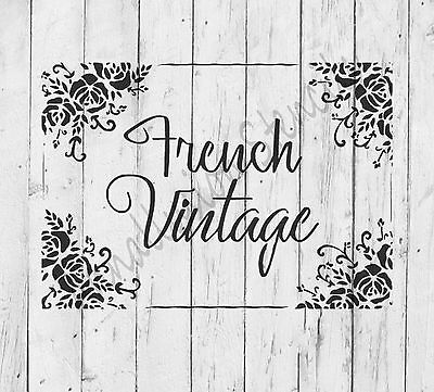 A4 Stencil French Vintage Shabby Chic Roses, 190 micron mylar, reusable
