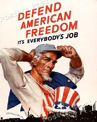 "1944 ""Defend American Freedom"" Vintage Style WW2 Poster - 20x24"