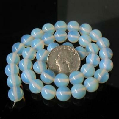 10mm White FIRE OPAL OPALITE Gemstone Round Beads 15""