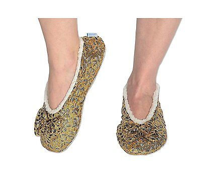 1 Pair Snoozies Lacy Sequin Glam Slipper w/Padded insole!
