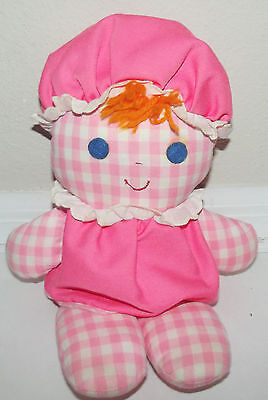 Vintage 1975 Fisher Price Lolly Dolly pink gingham rattle lovey baby doll  #420