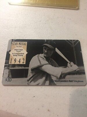 1995 Stan Musial St. Louis Cardinals  Phone Card-Southwestern Bell BEAUTY