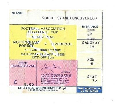 Nottingham Forest v Liverpool, 09/04/1988 - FA Cup Semi-Final Match Ticket.
