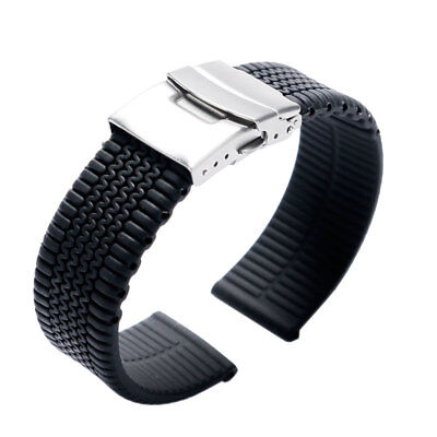 20/22/24mm Tire Link Black Silicone Watch Band Wrist Strap Soft Bracelet Diving