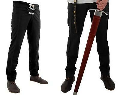 MEDIEVAL RENAISSANCE PIRATE MUSKETEER VIKING Mens All Period Black HOSE PANTS