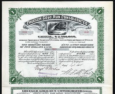 1905 Nova Scotia, Kanada: Crueger Gold Run Consolidated - Share Warrant