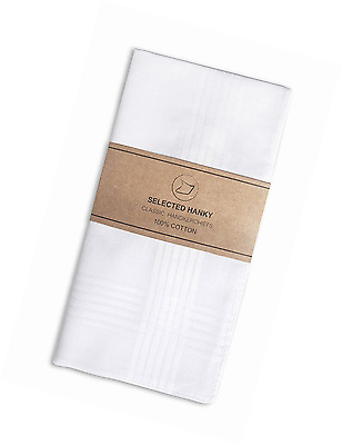 Selected Hanky 100% Cotton Men's Handkerchief White with Stich 12 Pieces